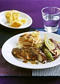 Turkey steak with okra and pumpkin & potato gratin