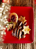 Roast goose with cranberry-stuffed pear