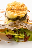 Mince and mashed potato cake with truffles