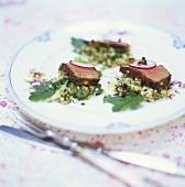 Beef on vegetable tartare