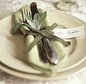 Place-setting with sage for Thanksgiving