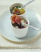 Courgette soup with slice of ham & vegetable stew with chutney