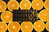 Bar of chocolate with slices of orange