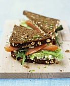 Salmon sandwich made with wholemeal bread