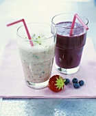 Citrus fruit smoothie with strawberries & blueberry kefir