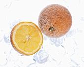 Frozen orange and orange half with ice cubes