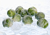 Frozen Brussels sprouts on ice