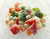 Frozen mixed vegetables on ice