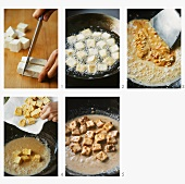 Making Indonesian tofu with peanut sauce