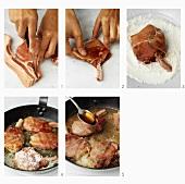 Preparing pork chops wrapped in bacon