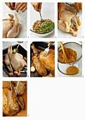 Preparing chicken with chestnut stuffing