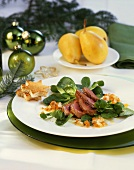 Duck breast with figs, mustard sauce and corn salad