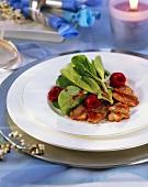 Marinated pork with corn salad and raspberry dressing