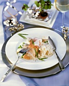 Redfish fillet with smoked salmon on pea & mushroom cream