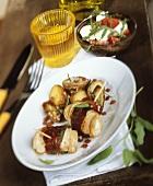 Saltimbocca di tacchino (Turkey rolls with sage and ham)