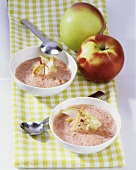 Red apple soup with strips of turkey