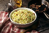 White cabbage salad with diced bacon