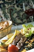 Grilled lamb fillet in a Turkish restaurant