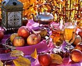 Äpfel und Apfelsaft auf herbstlich dekoriertem Tisch