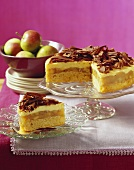 Advocaat cake with apple and chocolate curls