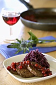 Venison medallions with red cabbage & redcurrants (Scotland)
