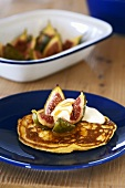 Drop scones (Scotch pancakes) with figs & yoghurt (Scotland)