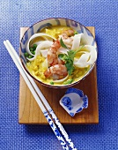 Thai curry noodle soup with prawns