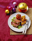Beef fillet with apple crust