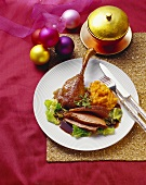 Roast goose with pumpkin puree and savoy cabbage