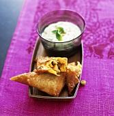 Vegetable samosas with raita