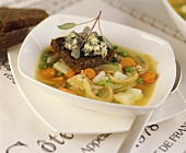 Vegetable soup with rye bread and blue cheese