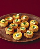 Croustades with goat's cheese & caramelised onion filling