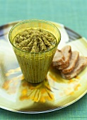 Green olive tapenade with sweet almond oil & lemon confit