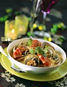 Seafood soup with king prawns and clams