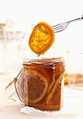 Orange marmalade with slices of orange