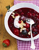 Berry compote with sweet sour cream