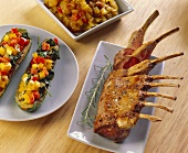 Rack of lamb and stuffed courgettes