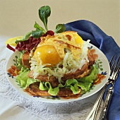 Leberkäse (type of meatloaf), white cabbage & eggs on toast