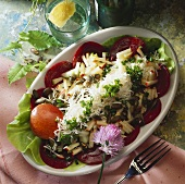 Raw apple salad with beetroot, Parmesan and chives