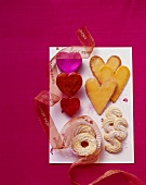Mandarin hearts and marzipan biscuits