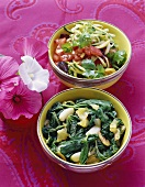Mallow salad with garlic and courgette salad (Morocco)