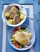 Herb chicken and lamb chops with coriander (Morocco)
