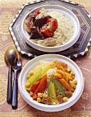 Vegetable couscous and couscous with dried meat (Morocco)