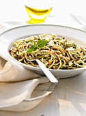 Spaghetti with nettles and pine nuts