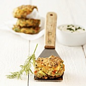 Vegetable burger on spatula
