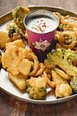 Vegetable tempura with yoghurt dip