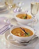 Cream of chick-pea soup with lobster for Christmas