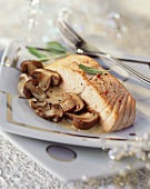 Salmon fillet with ceps for Christmas