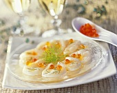 Scallop carpaccio with salmon caviar