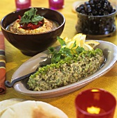 Lebanese appetisers: baba ganoush and hummus